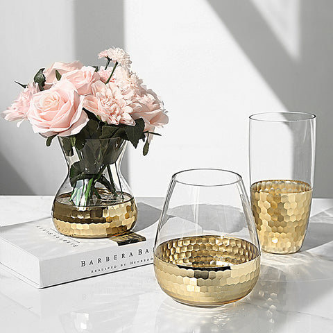 Glass vase with gold hexagon mosaic metal pattern