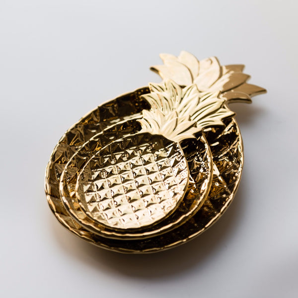 golden or white pineapple dish for furnishing articles decorative plate home decoration 3 sizes