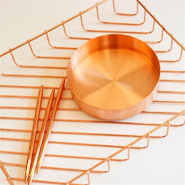 Copper Round Storage Tray - Desk Organizer