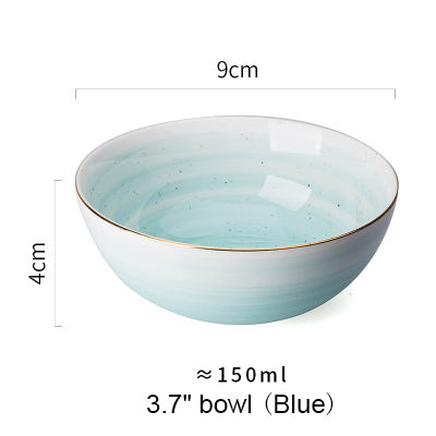 Gold Rim Spot Ceramic Bowl