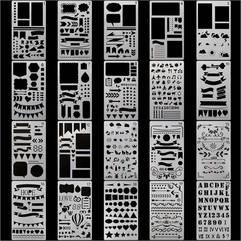20pcs/set DIY - Stencils - Drawing - Template for journals