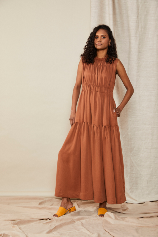 scrunch dress | terracotta $395