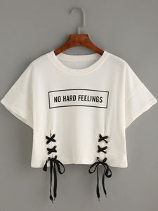 No Hard Feelings Cropped Tee
