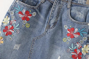 Floral Embroidery Denim Skirt