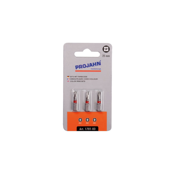 "Set de biti colorati PH 1-2 Phillips (in cruce) PROJAHN 1/4"" 3 buc/set"
