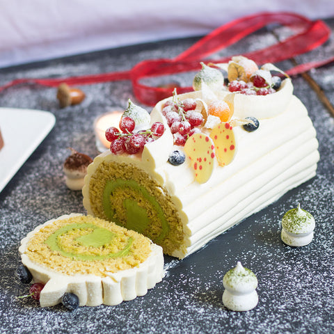 Yuzu Green Tea Polenta Log Cake | Cedele Market