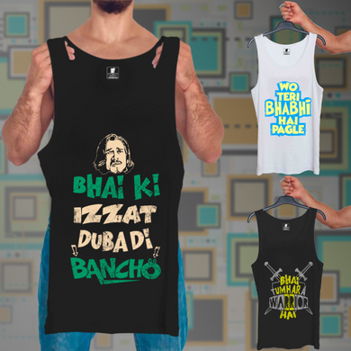 Bhai Ki Izzat Black, Wo Teri Bhabhi White, Warrior Hai Black: 3 In 1 Combo Of Tank Tops