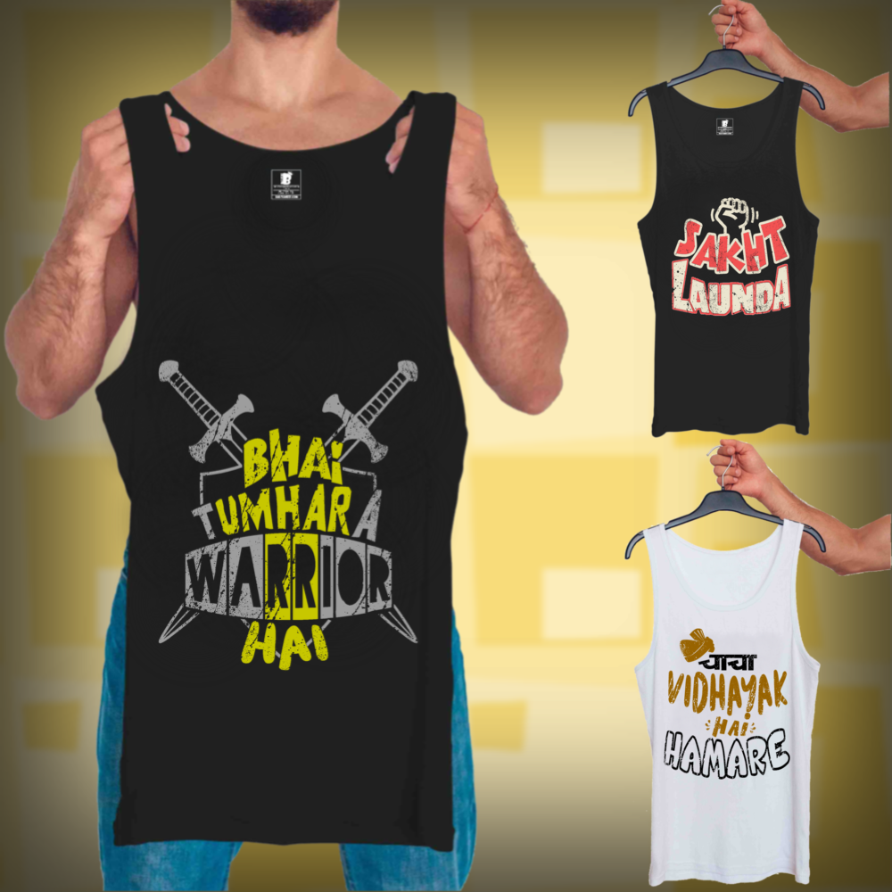 Warrior Hai Black, Sakht Launda Black, Chacha Vidhayak Hai White : 3 In 1 Combo Of Tank Tops
