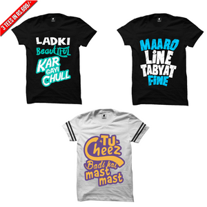 Funny T-Shirts Combo: Ladki Beautiful Black, Maro Line Black, Tu Cheez Trim White
