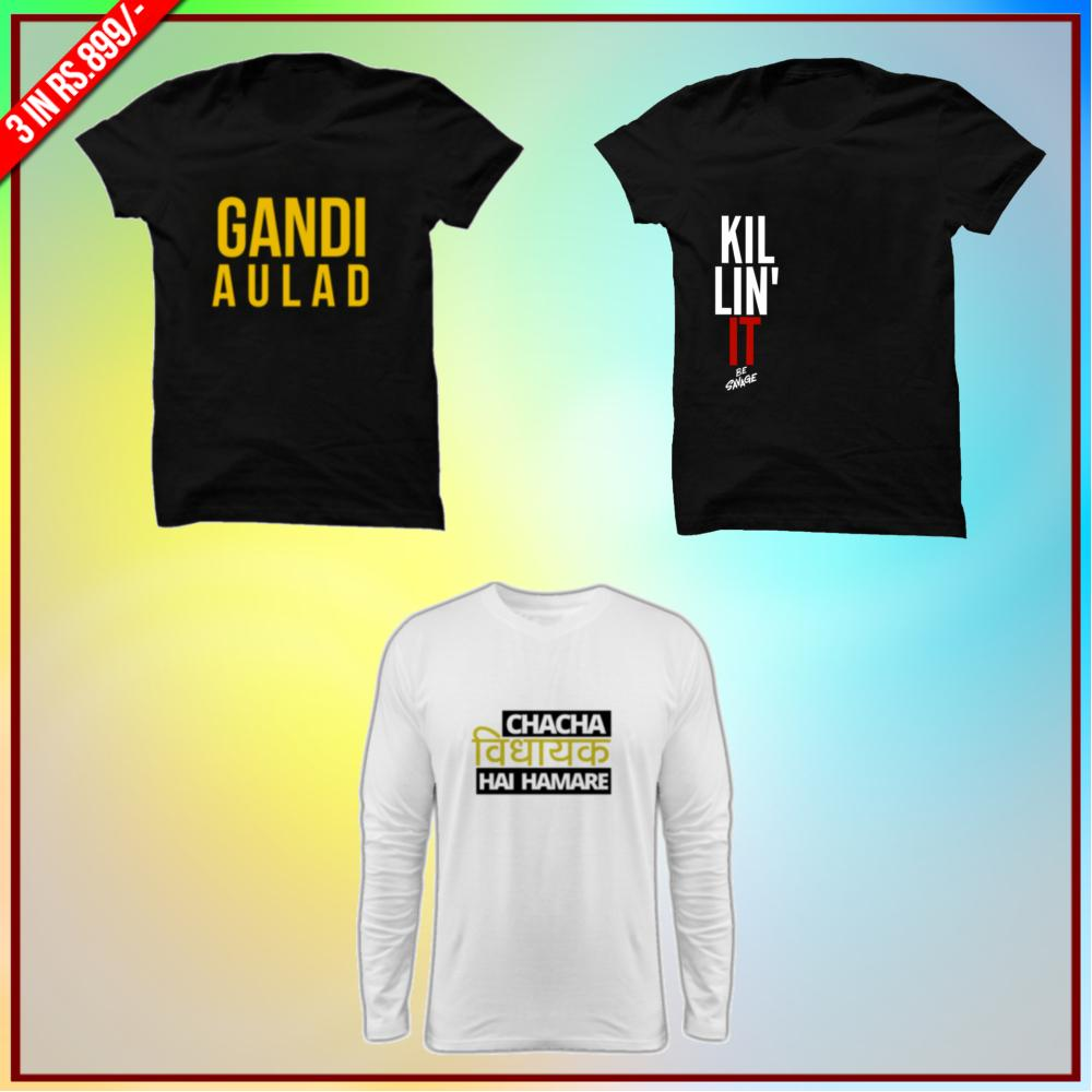 Premium Funny T-Shirts Combo:Gandi Aulaad Black, Killin It Black, Chacha Vidhayak Full White