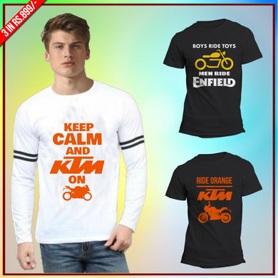 Bikers 3 Tee Combo: Keep calm white full KTM RC, Boys ride toys, KTM Duke Black Half Tee
