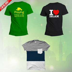 Islamic New T-Shirts Combo: Praying Green, I Love Islam Black, Wear Affair Tees