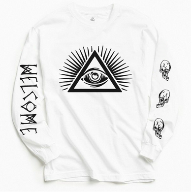 Follow new trend, wear Welcome Sapien Long Sleeve Designer White Tee With Back Print