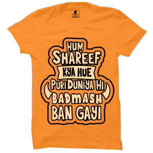 Hum shareef kya hue : Orange Half Sleeve Tshirt With Rib
