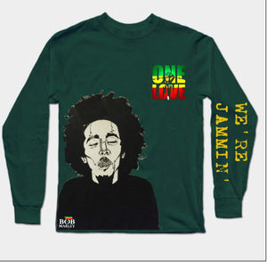 Bob Marley Full Sleeves Dark Green T-Shirt