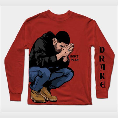 Long Sleeves Red Drake God's Plan T-Shirt