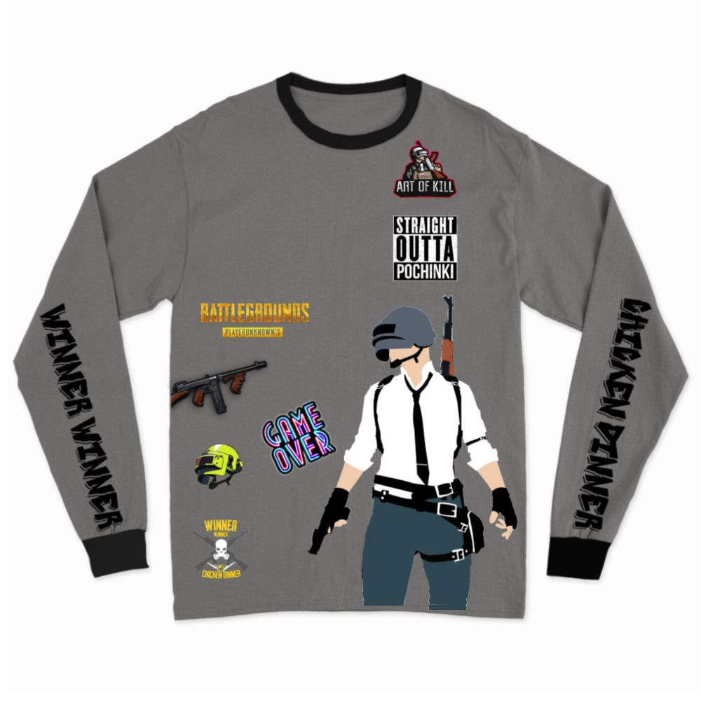Pubg Long Sleeves Grey T-Shirt