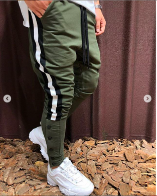 Bottle Green With White Strips Slim Fit Jogger