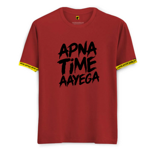 Apna Time Aayega Red Tshirt_With Rib