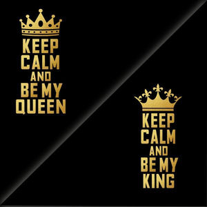 Keep calm King Queen black Gold Tshirt Combo - Badtamees