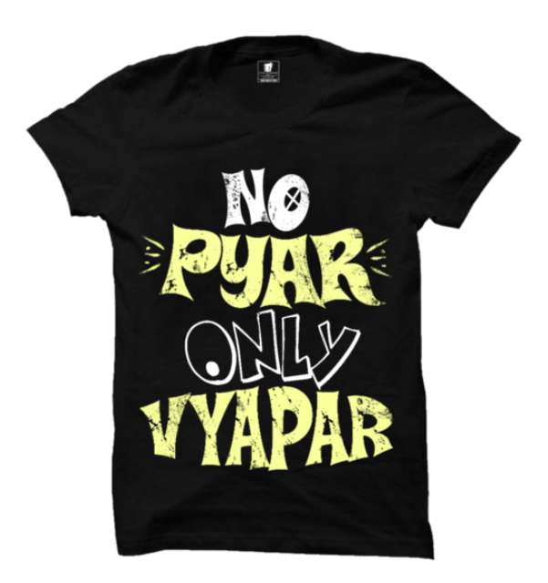 No Pyaar  Half Sleeves Black T-Shirt