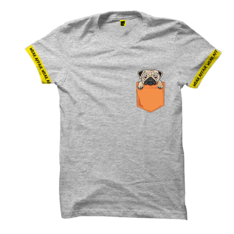 Pug Pocket Grey Tshirt_With Rib