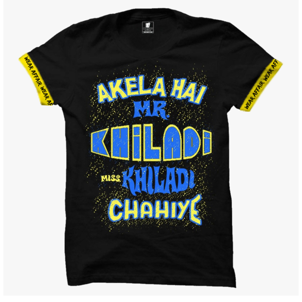 Mr. Khiladi Sleeves Black T-Shirt_ With Rib