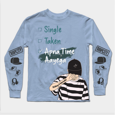 Apna Time Aayega Long Sleeves Blue Premium T-SHIRT