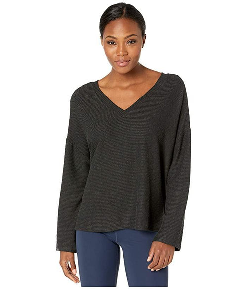 Manduka Boxy V-Neck Ribbed Pullover - Dark Granite