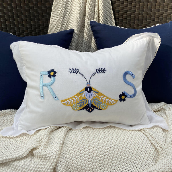 Flutter Monogram Embroidered Kidney Cushion