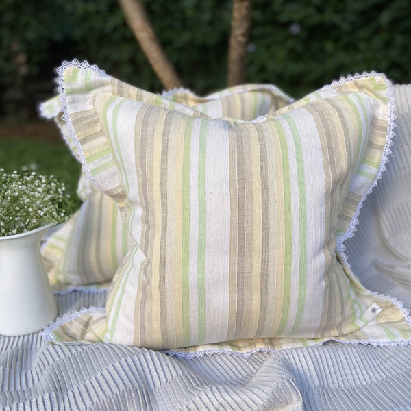 Lemon & Lime Lace Trim Striped Woven Cushion