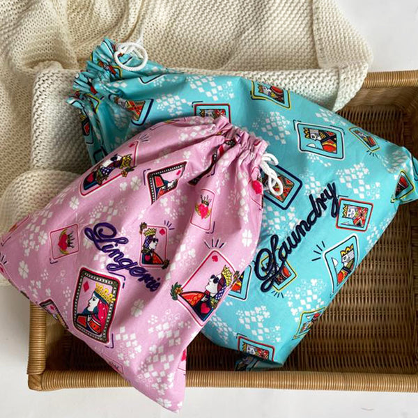 Dandelion - Blue/Pink - Printed Cotton - King/Queen Cards - Pouch