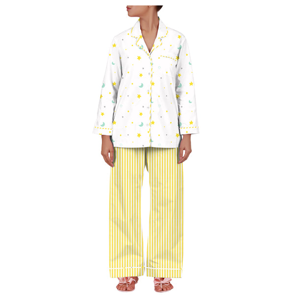 Dandelion- Cotton - White - Stars & Moon - Pajama Set