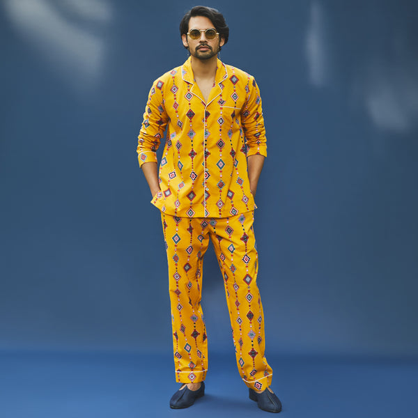 Technicolour Cotton Notched Pyjama Set
