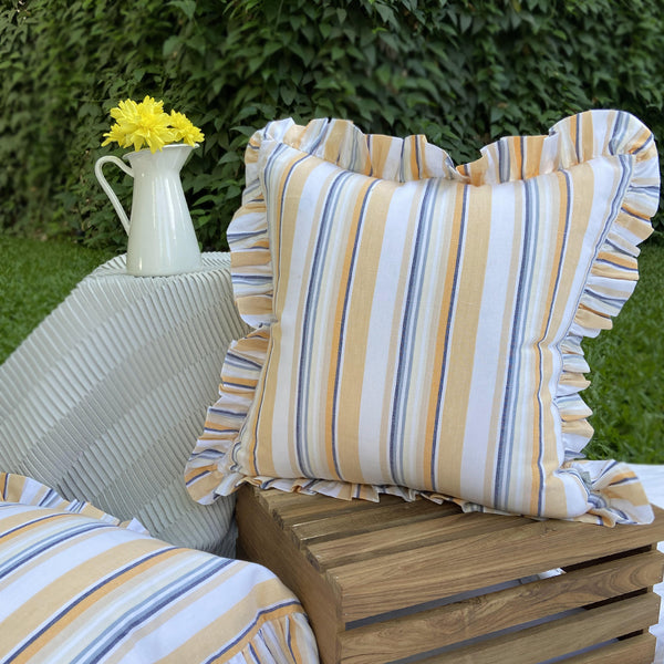 Ochre & Wild Blue Frilled Edge Striped Woven Cushion