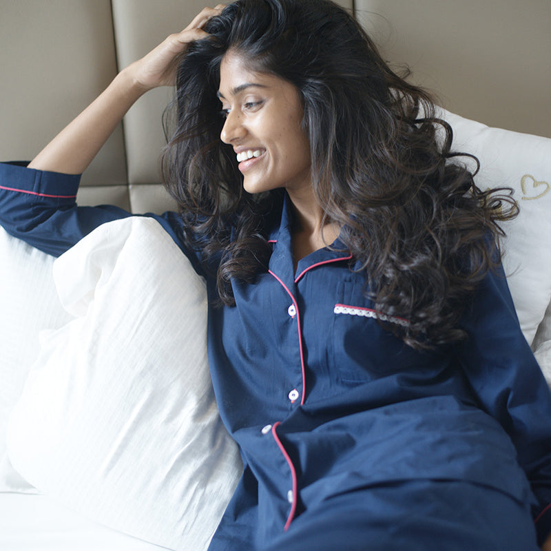 Navy Cotton Notched Pyjama Set