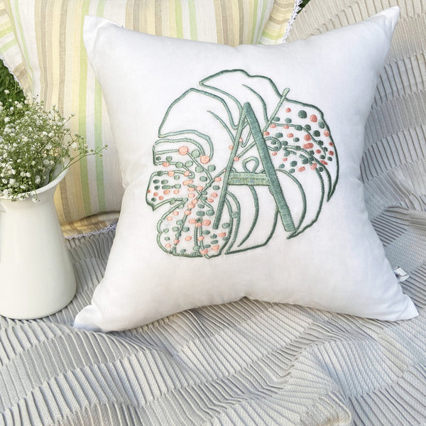 Monstera Monogram Embroidered Cushion