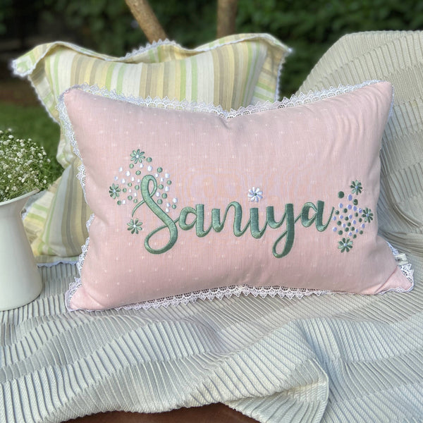 Tropical Terrain Personalized Embroidered Kidney Cushion