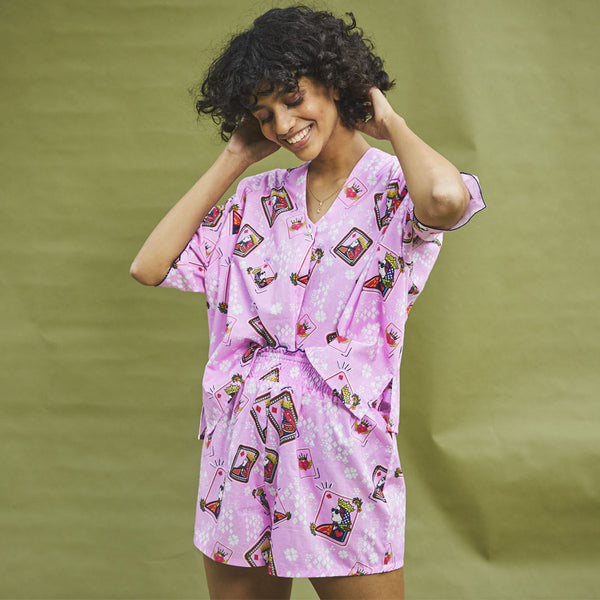 Dandelion - Pink - Printed Cotton - Queen Cards - V Neck Top & Ruffle Shorts Set