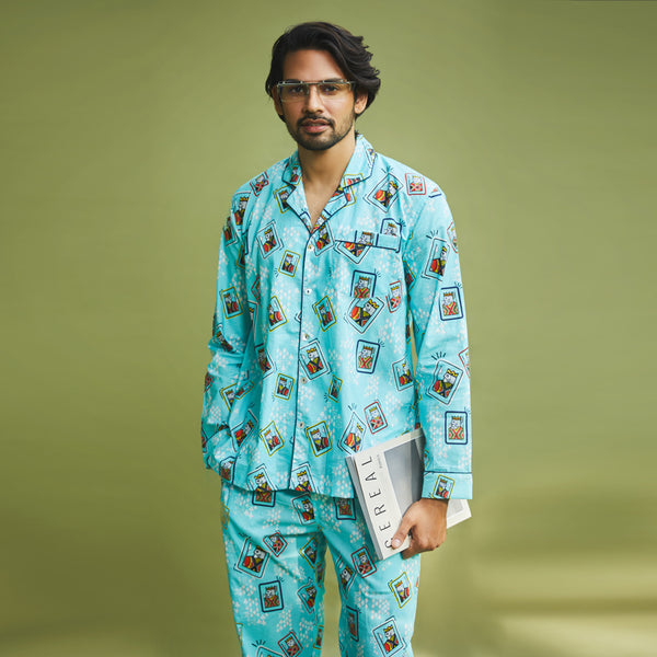 Dandelion - Blue - Printed Cotton- King Cards -  Pajama Set
