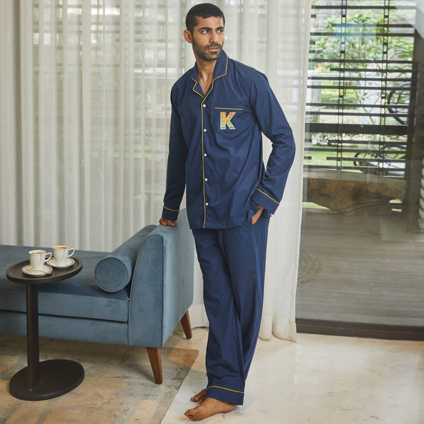 Berry Blue Letterology Cotton Notched Pyjama Set