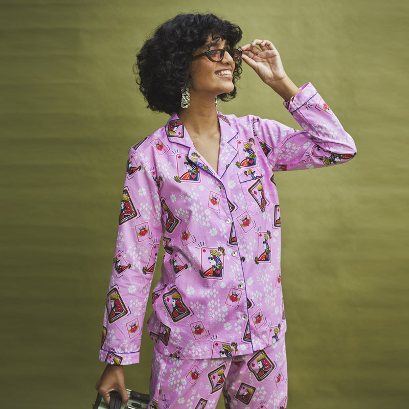 Queen D Cotton Notched Pyjama Set