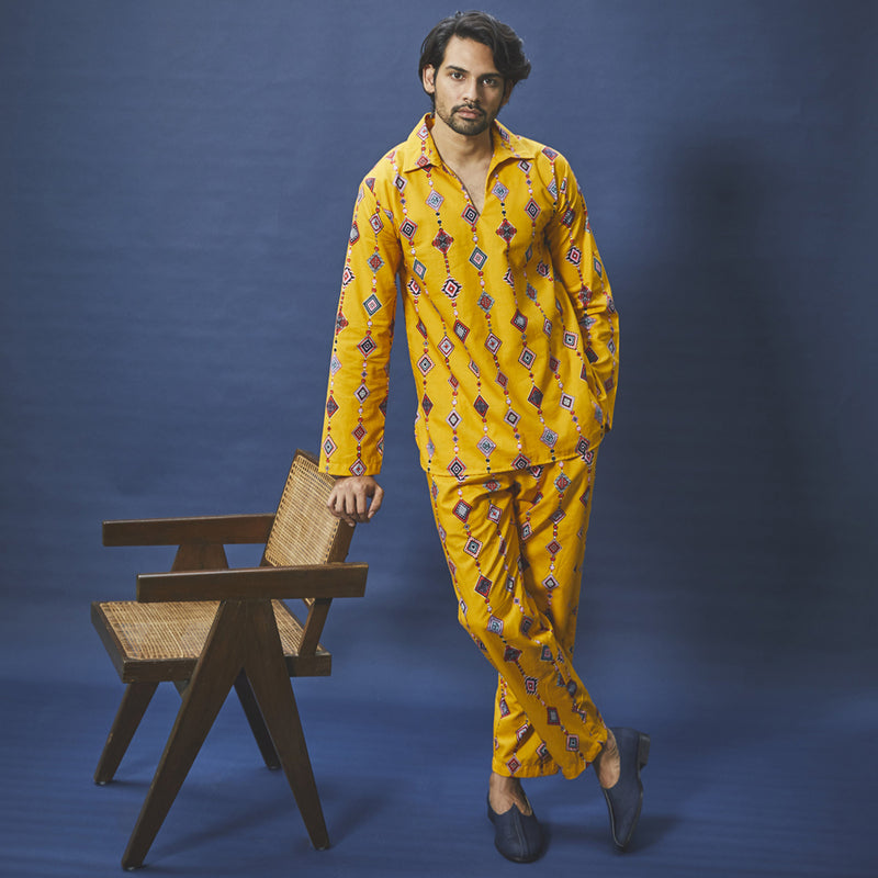 Technicolour Cotton  Casual Collared Pyjama Set