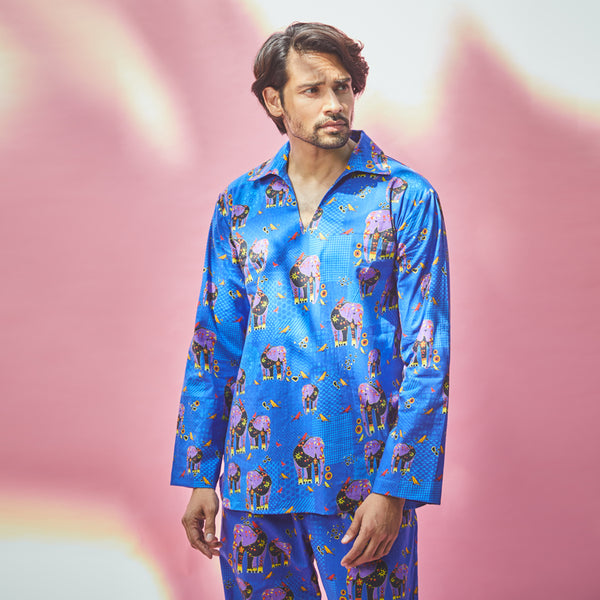 Dandelion - Blue - Printed Cotton - Elephant -Kurta Pajama Set