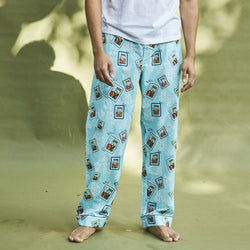 Dandelion - Blue - Printed Cotton- King Cards - Pajamas