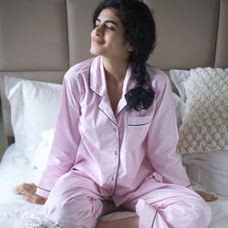 Blush Pink Cotton Notched Pyjama Set