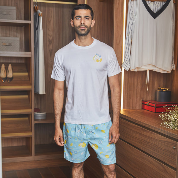 Citric Burst Embroidered T-Shirt & Cotton Boxers