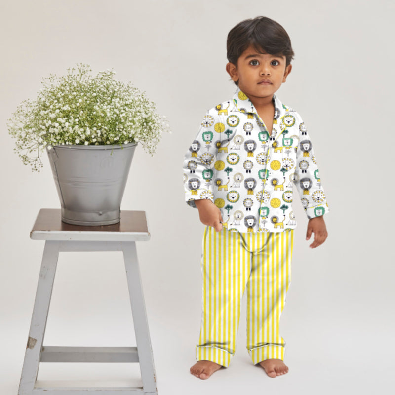 Lion Cotton Notched Pyjama Set