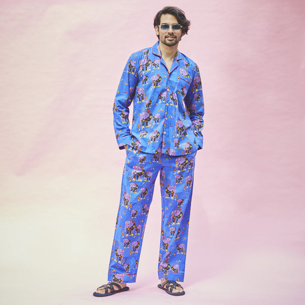 Dandelion - Blue - Printed Cotton - Elephant - Pajama Set