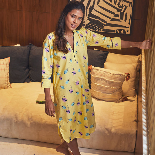 Dandelion - Yellow - Printed Cotton- Ladybird - Mid Length - Nighty Sleep dress
